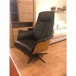 Relaxfauteuil Dylan leder zwart met houten kuip