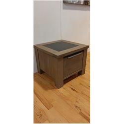 Eger salontafel 55x55 + lade weathered grey opruiming